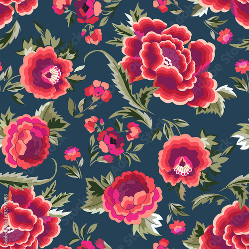 Fotografering  Manton shawl - Spanish Floral Print - seamless background