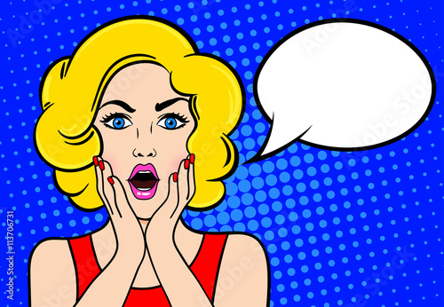 Pop art surprised blond woman with open mouth on a blue vintage background. Vector illustration with bubble for text