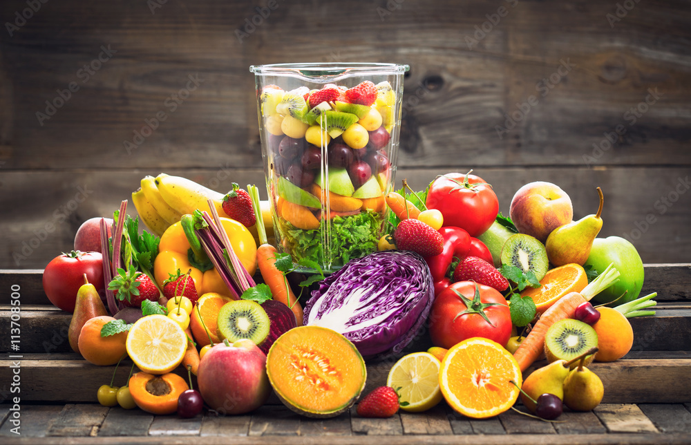 Fresh fruits and vegetables in the blender