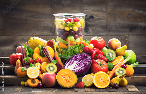 Recess Fitting Vegetables Fresh fruits and vegetables in the blender