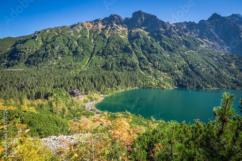 Fototapeta Landscape of mountain lake Morskie Oko near Zakopane, Tatra Moun obraz na płótnie