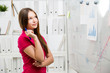 Casual woman analyzing charts