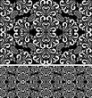 Seamless damask white Pattern on the black Background