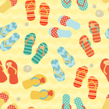 Seamless Pattern With Flip Flops On A Sand.