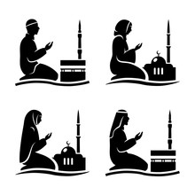 Traditionally Clothed Muslim Man And Woman Making A Supplication (salah) While Sitting On A Praying Rug Against The Backdrop Of The Mosque. Vector  Illustration.