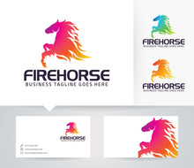 Fire Horse Vector Logo With Business Card Template