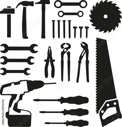 Photo Tools set - saw, wrench, screwdriver, nails, screw, drill
