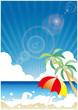 真夏のビーチ(パラソル)