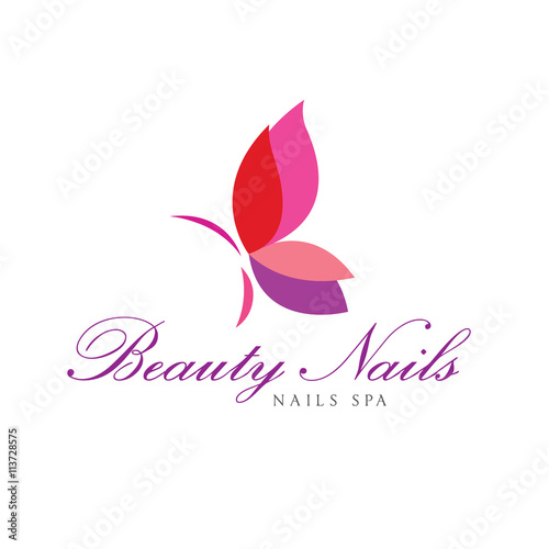 butterfly logo beauty nails logo template buy this stock vector