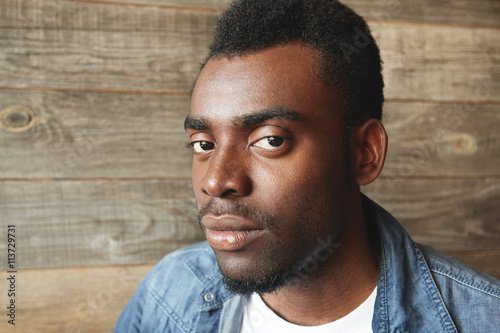A Half Turned Facial Shot Of Young African American Man With Big