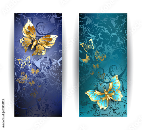 Fotobehang Vlinders in Grunge Two banners with gold butterflies