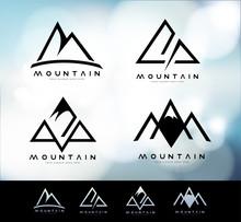 Retro Vintage Mountain Logo With Blurred Background. Mountain Linear Logo Design.