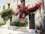 Fototapeta Fototapety na drzwi - traditional street among bougainvillaea in Greece