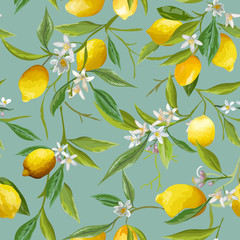 Fototapeta Seamless Pattern. Lemon Fruits Background. Floral Pattern.
