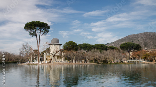 Fotomural Timelapse of the thermal lake of Termas Pallares in Alhama de Aragon, Zaragoza (Spain), during a Autumn day