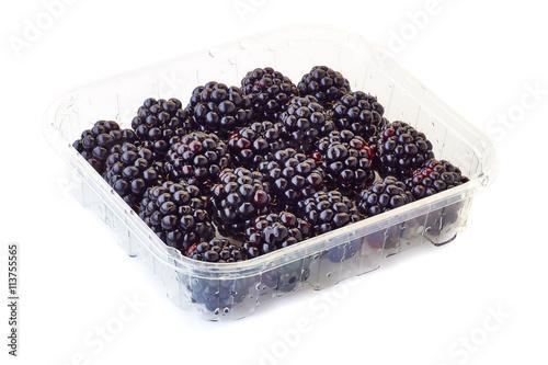 Fotografija  punnet of blackberries on white