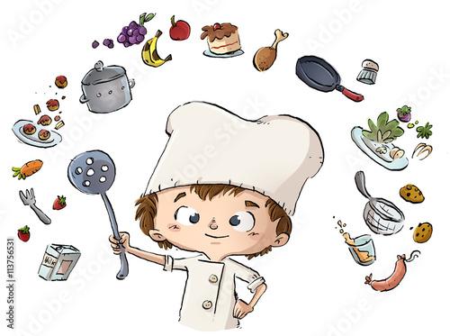 Fotografie, Obraz  niño cocinero cocinando