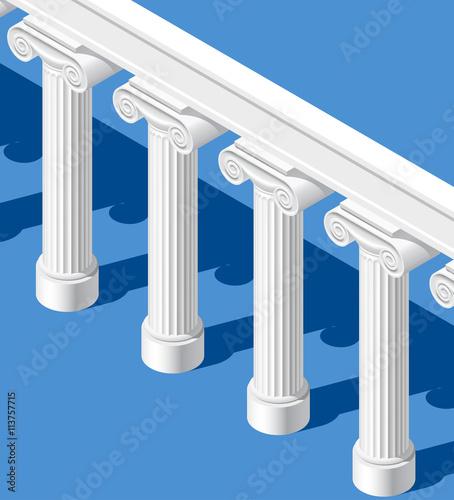 Slika na platnu Isometric white classic ancient colonnade on blue background