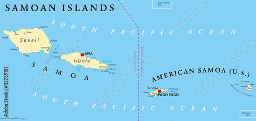 samoan islands political map with samoa formerly known as western samoa and american samoa and