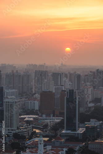 Fototapety, obrazy: Singapore rooftop view of Marina Bay with urban skyscrapers at s