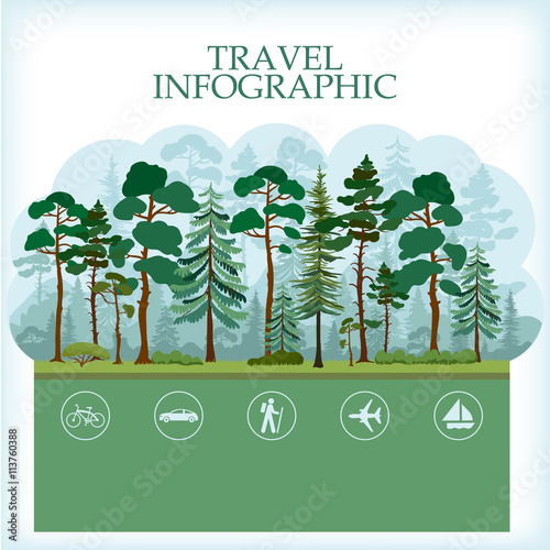Foto op Canvas Lichtblauw Traveling infographic with forest landscape