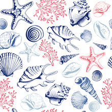Seamless Pattern With Seashells, Corals And Starfishes