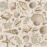 Fototapeta Bathroom - Seamless vintage pattern with seashells