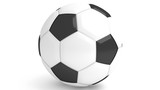 Fototapeta Pokój dzieciecy - Ball for soccer or football with stitching, 3D render, isolated on white