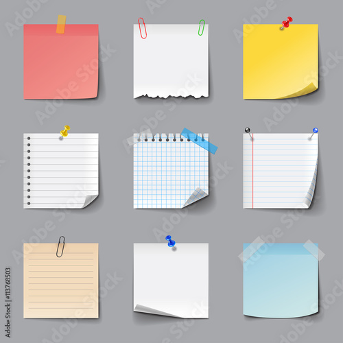 Post it notes icons vector set Slika na platnu