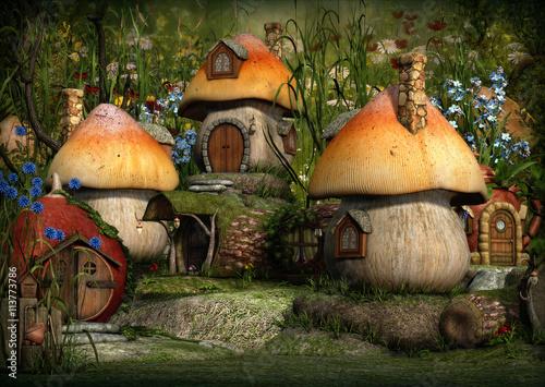 grzybkowe-domki-w-krainie-czarow-ilustracja-3d