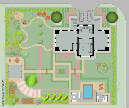 Deurstickers Op straat Masterplan with a beautiful garden, villa, bath house and backyard