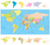 Colored political World Map with continnets