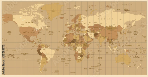 Detailed world map in colors of brown buy this stock vector and detailed world map in colors of brown gumiabroncs Gallery