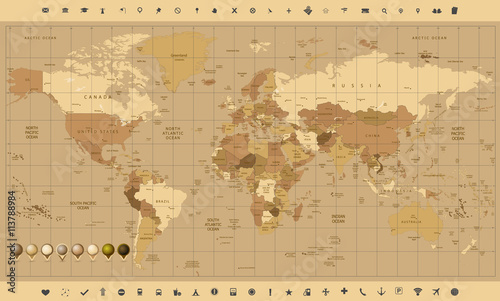 Fototapeta szczegółowa mapa świata w kolorach brązu