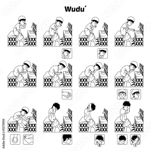 Fotografia, Obraz Muslim Ablution or Purification Ritual Guide Step by Step Using Water Perform by