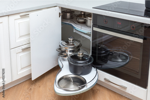 Solution For A Kitchen Corner Storage In Cupboard Unit With Pullout Shelves