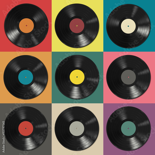 Fotografía  Vinyl records with colorful labels