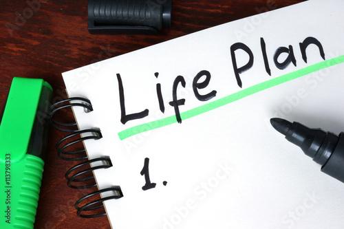 Fotografie, Obraz  Život plán napsaný na notebooku. Motivace koncepce.