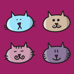 4 cats vector illustration icons colorful on violet background