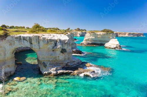 Torre Sant Andrea cliffs, Salento peninsula, Apulia region, South of Italy Wallpaper Mural
