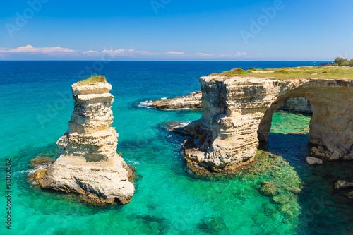 Torre Sant Andrea cliffs, Salento peninsula, Apulia region, South of Italy Canvas Print