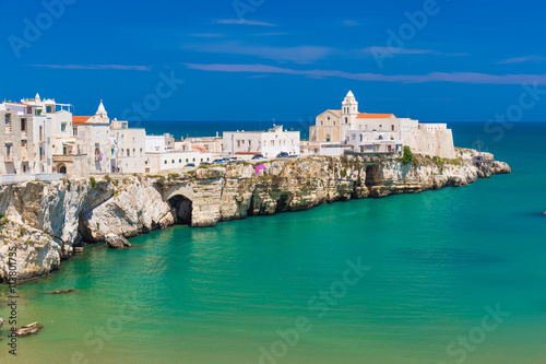 Fototapeta Beautiful old town of Vieste, Gargano peninsula, Apulia region, South of Italy