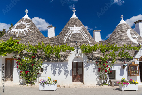 Beautiful town of Alberobello with trulli houses, main turistic district, Apulia Wallpaper Mural