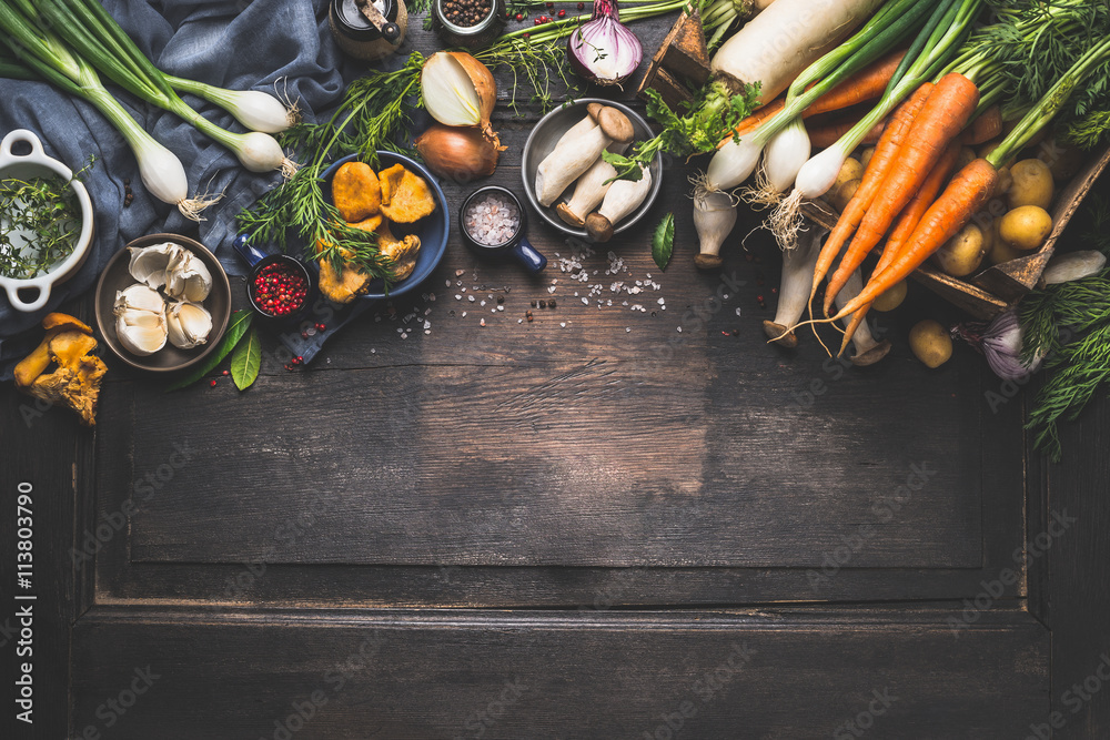 Fototapety, obrazy: Organic harvest Vegetables from garden and  forest mushrooms. Vegetarian ingredients  for cooking on dark rustic wooden background, top view, border