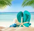 Summer beach accessories on sand