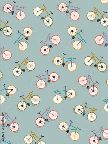 Fotografie, Obraz  Pattern coloured bicycles vintage green background, vector