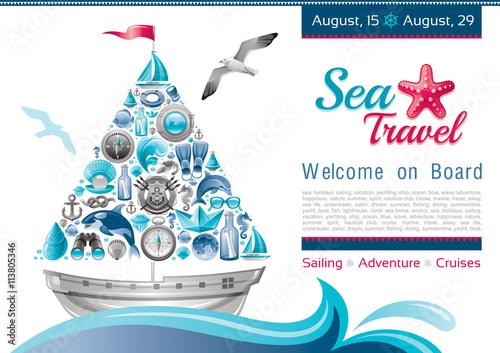Fotografie, Obraz  Sea summer travel banner invitation design with sail boat and icon set