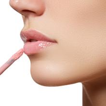 Beautiful Full Pink Lips. Lipstick. Professional Make-up