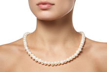 Beautiful Fashion Pearls Necklace On The Neck. Jewellery And Bijouterie