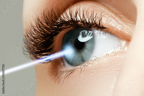 Laser vision correction. Woman's eye. Human eye Poster